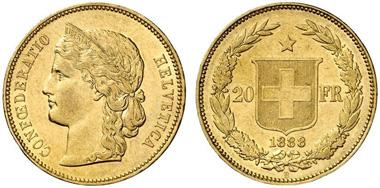 Schweiz. 20 Franken 1888 B, Bern. Aus Auktion Fritz Rudolf Künker GmbH & Co. KG 218 (2012) 5414.