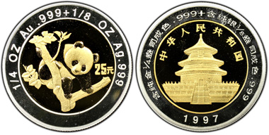 After this 1997 bi-metal 25 Yuan China Panda was certified PCGS Secure PR69DCAM it was sold for US$25,000 by the London Coin Company. Photo © PCGS.