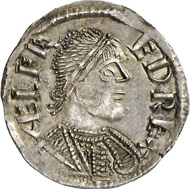 2342: England / Anglo-Saxon coins. ALFRED, 871-899. Penny, London. North 644. Extraordinary portrait. About mint-state. From auction sale Gemini VI (2010), 935. Estimate: 18,000 euros. Hammer price: 20,000 euros.