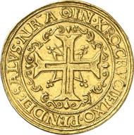 7394: Germany. HAMBURG. Portugalöser of 10 ducats n. y. (1578-1582) of mint master Andreas Metzner. Bahrfeldt 3 (2nd die). Cipher of value