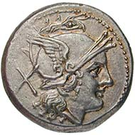 Roman Republic, denarius, silver (4.5 g), 211 BC