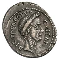 C. Julius Cäsar, Denar, Silber (3,7 g), März 44 v. Chr.