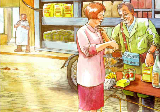 A Saturday in September 1925. A Migros-salesman and a housewife are talking to each other. Drawn by Dani Pelagatti / Atelier bunterhund. Copyright MoneyMuseum Zurich.