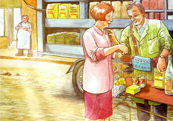 Ein Samstag im September 1925. Ein Migros-Verkäufer und eine Hausfrau unterhalten sich. Zeichnung von Dani Pelagatti / Atelier bunterhund. Copyright MoneyMuseum Zürich.
