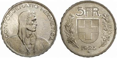 Schweiz. 5 Franken 1925 B, Bern. Aus Auktion Fritz Rudolf Künker GmbH & Co. KG 217 (2012) 3084.