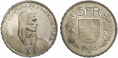 Switzerland. 5 franks 1925 B, Bern. From auction sale Fritz Rudolf Künker GmbH & Co. KG 217 (2012) 3084.