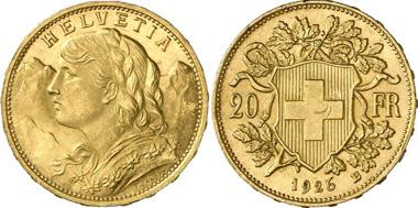 Schweiz. 20 Franken 1926. Bern. Aus Auktion Gorny & Mosch 197 (2011) 6247.