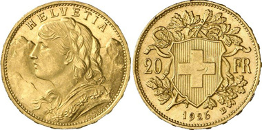 Switzerland. 20 franks 1926. Bern. From auction sale Gorny & Mosch 197 (2011) 6247.