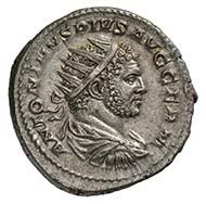 Caracalla, römischer Kaiser 198-217, Antoninian (= doppelter Denar), Silber (5,1 g)