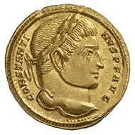 Constantin I., römischer Kaiser 307-337, Solidus, Gold (4,45 g), 314, Trier