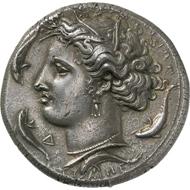 Syrakus (Sizilien). Dekadrachmon, signiert von Euainetos. Aus Auktion Naville-Ars Classica 13 (1928), 342 und NAC 13 (1998), 481.