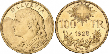 Switzerland. 100 franks 1925 Bern. From auction sale Gorny & Mosch Giessener Münzhandlung Stuttgart Auction 1 (2010) 1238.