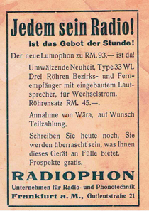 Wära advert 1931. Radio set