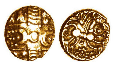 Basingstoke Wreath gold quarter stater, c.50-30 BC, ABC 827. Only one other recorded.