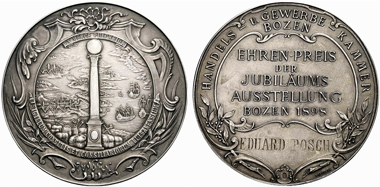 Bolzano. Prize medal of the Jubilee exhibition 1898, dedicated by the Trade and Industry Chamber in Bolzano. From Rauch 85 (2009), 2299.