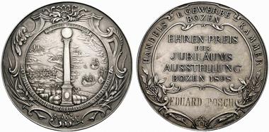Bozen. Ehrenpreismedaille der Jubiläumsausstellung 1898, gewidmet von der Handels- und Gewerbekammer in Bozen. Aus Rauch 85 (2009), 2299.