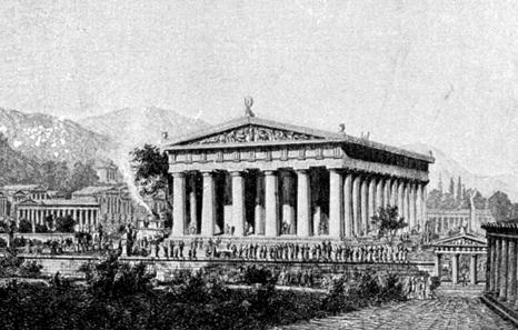 Rekonstruktion des Zeus-Tempels in Olympia, wie man ihn sich früher vorstellte. Quelle: Wilhelm Lübke / Max Semrau, Grundriß der Kunstgeschichte. Paul Neff Verlag, Esslingen, 14. Aufl. 1908.