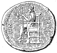 Statue of Zeus by Phidias, Redrawing of a coin from Elis. Source: Baumeister, Monuments of Classical Antiquity, vol. 3, 1888, p. 1316 / Wikipedia.