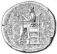 Zeusstatue des Phidias, Umzeichnung einer Münze aus Elis. Quelle: Baumeister, Denkmäler des klassischen Altertums Bd. 3, 1888, S. 1316 / Wikipedia.