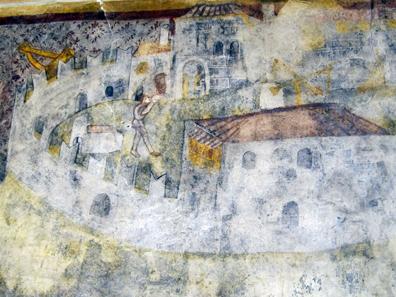 Der Bau der Burg; ein Baukran ist deutlich am Rand oben links zu sehen. Foto: KW.