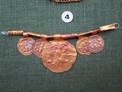 Necklace with coin-shaped pendants. Photo: KW.