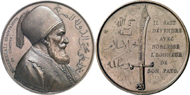 Mehmed Ali. Bronze medal, 1839 of his victory as Viceroy of Egypt over the Sultan in Nessib. Gorny & Mosch 172 (2008), 6502.