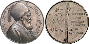 Mehmed Ali. Bronzemedaille 1839 auf seinen Sieg als Vizekönig von Ägypten über den Sultan in Nessib. Gorny & Mosch 172 (2008), 6502.