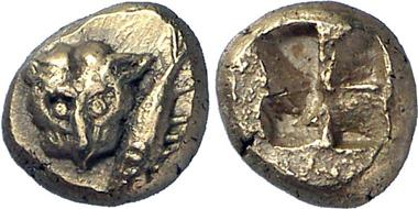 Cyzicus (Mysia). 1/12 stater, 550-500. Panther head, rev. tuna. Gorny & Mosch 199 (2011), 337.