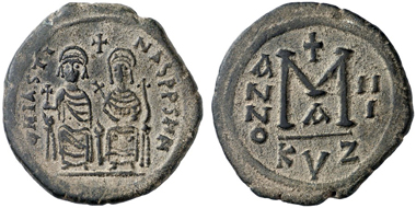 Iustin II., 565-578 n. Chr. 40 Nummi, 567/8, Kyzikos. Gorny & Mosch 212 (2013), 3120.