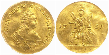 Grade  PCGS AU53+, this 1751 Ducat will be offered by Rare Coins Auction House in Moscow, April 27, 2013.