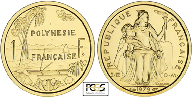 This 1979 French Polynesia 1 franc gold pattern piefort, graded PCGS SP69, is one of the highlights of the May 15 and 16, 2013 auction by Monnaies D'Antan of Poses, France.