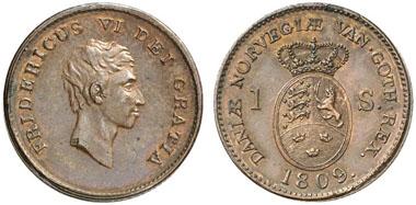 Dänemark. Probe zu 1 Skilling 1809. Bronze. Aus Auktion Künker 211 (2012), 2035.
