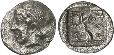 Assos (Troas). Hemiobol, ca. 5th century BC. Initial publication and assignment to Assos provenance at Gorny & Mosch 204 (2012), 1471.