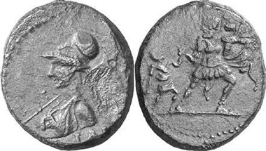 Ilium (Troas). Autonom, Flavian Era. Semis. Aeneas flees with his father, Anchises, and his son, Ascanius from burning Troy. From Gorny & Mosch 147 (2006), 1834.
