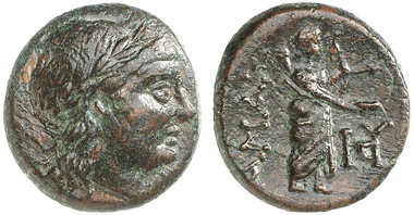 Hamaxitos (Troas). Bronze coin, 400-310 BC. Apollo head. Rev. Apollo Smintheus. From Gorny & Mosch 164 (2008), 178.