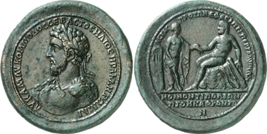 Pergamum. Commodus, 180-192. Medallion. Rev. Heracles sitting facing left, his hand reaching out to Auge. Gorny & Mosch 196 (2011), 3202. It's not clear whether this is a contemporary stamping or a modern-era imitation.