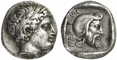 Pergamum. Gongylos(?). Diobol, around 420. Rev. Satraps head with tiara facing right. Gorny & Mosch 207 (2012), 278.
