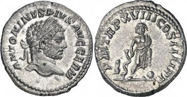 Caracalla. Denarius, 215. Rev. Asclepius of Pergamum with Telesphorus and Omphalus. Gorny & Mosch (November 2010), 475.
