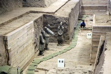 Grabungsarbeiten auf dem Areal der Grabanlage von Qin Shi Huangdi in der zentralchinesischen Provinz Shaanxi. © Bernisches Historisches Museum, Bern.