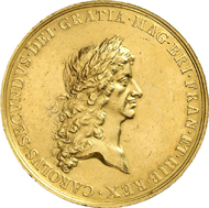 GREAT BRITAIN. Charles II, 1660-1685. Gold medal n. y. (1667), unsigned by J. Roettiers on the Treaty of Breda. Eimer 241. Of great scarcity! Very fine to extremely fine. Estimate: 6,000 euros.