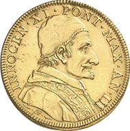 Italy. VATICAN. Innocent XI, 1676-1689. Quadrupla 1678/9, Rome. Friedberg 154. Of great scarcity. Traces of mounting, fields smoothed. About extremely fine. Estimate: 10,000 euros.