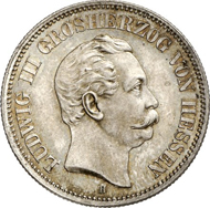 5121: Reichsprägungen. HESSEN. Ludwig III., 1848-1877. 2 Mark 1877. J. 66. Äußerst selten. Prachtvolle Patina. Stgl. Taxe: 25.000 Euro.
