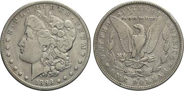 Los 767: USA, 1 Dollar 1893 S. - seltener Jahrgang.