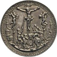 Los 1113: Sachsen, Biblische Silbergussmed. 1536 (v. H. Reinhart d.Ä.). Tentzel, Ernestiner T.8.1var. Habich II.1,1968 mit T. CCXI, Nr.1.3 u. 4var. Domanig 762,T. 87var. Lanna III 1290 (T.53), II 465 (T.35)var. Löbbecke I 567var, II 161var. 67 mm. 75,13 g. Zeitgenöss. Guss, ziseliert.