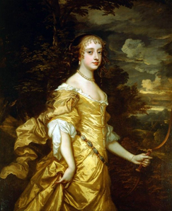 Portrait of Frances Theresa Stuart, Duchess of Richmond and Lennox, c. 1662/1665 by Peter Lely (1618-1680). Source: Royal Collection, Hampton Court Palace / Wikipedia.