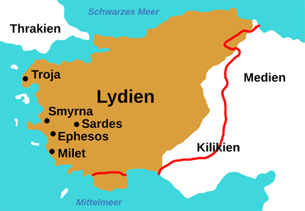 Map of ancient Lydia. Source Wikipedia. http://commons.wikimedia.org/wiki/File:Map_of_Lydia_ancient_times-de.svg