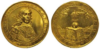 HABSBURG, Leopold I., 1657-1705, Goldmedaille zu 10 Dukaten, o. J. (1658), von IB (Johann Buchheim), auf die Krönung zum Deutschen Kaiser in Frankfurt/Oder. Förschner 102, J. u. F. 1896. Fast vorzüglich. Ausruf: 7.000 Euro.
