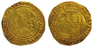 GROSSBRITANNIEN, James I., 1603-25, Laurel (1619-1625), fünfte Kopfvariante, Münzzeichen Lilie, Spink 2639. Ausruf: 5.000 Euro.
