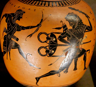 Delphi wasn't just fought over among the Greeks. Even the Gods fought over it. Heracles once stole the tripod, which Apollo had to reclaim, as can be seen on this black-figure Athenian oinochoe of the Taleides Painter. Around 520 BC. Source: Jastrow / Wikipedia.