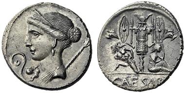 243: C. Iulius Caesar. Denarius, 46/5. CR. 468/2. Extremely fine. Starting price: 1,800 euros. Hammer price: 3,600 euros.